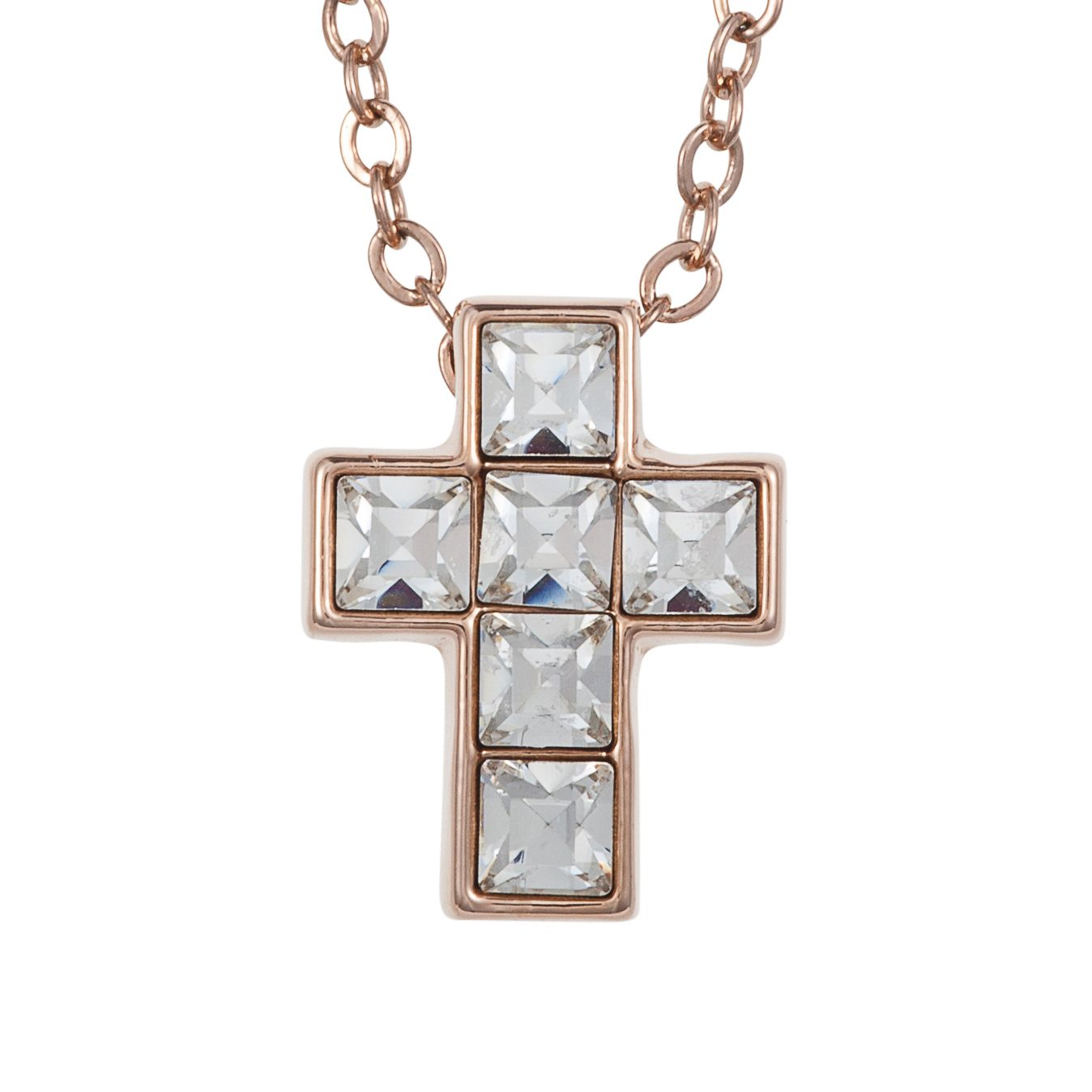 18ct rose gold cross pendant