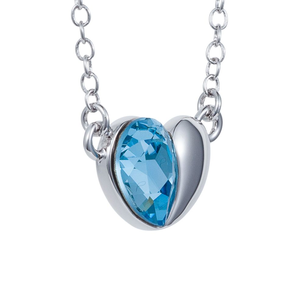 Blue crystal half rhodium heart pendant
