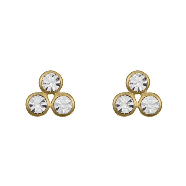 18ct gold 3 stone earring