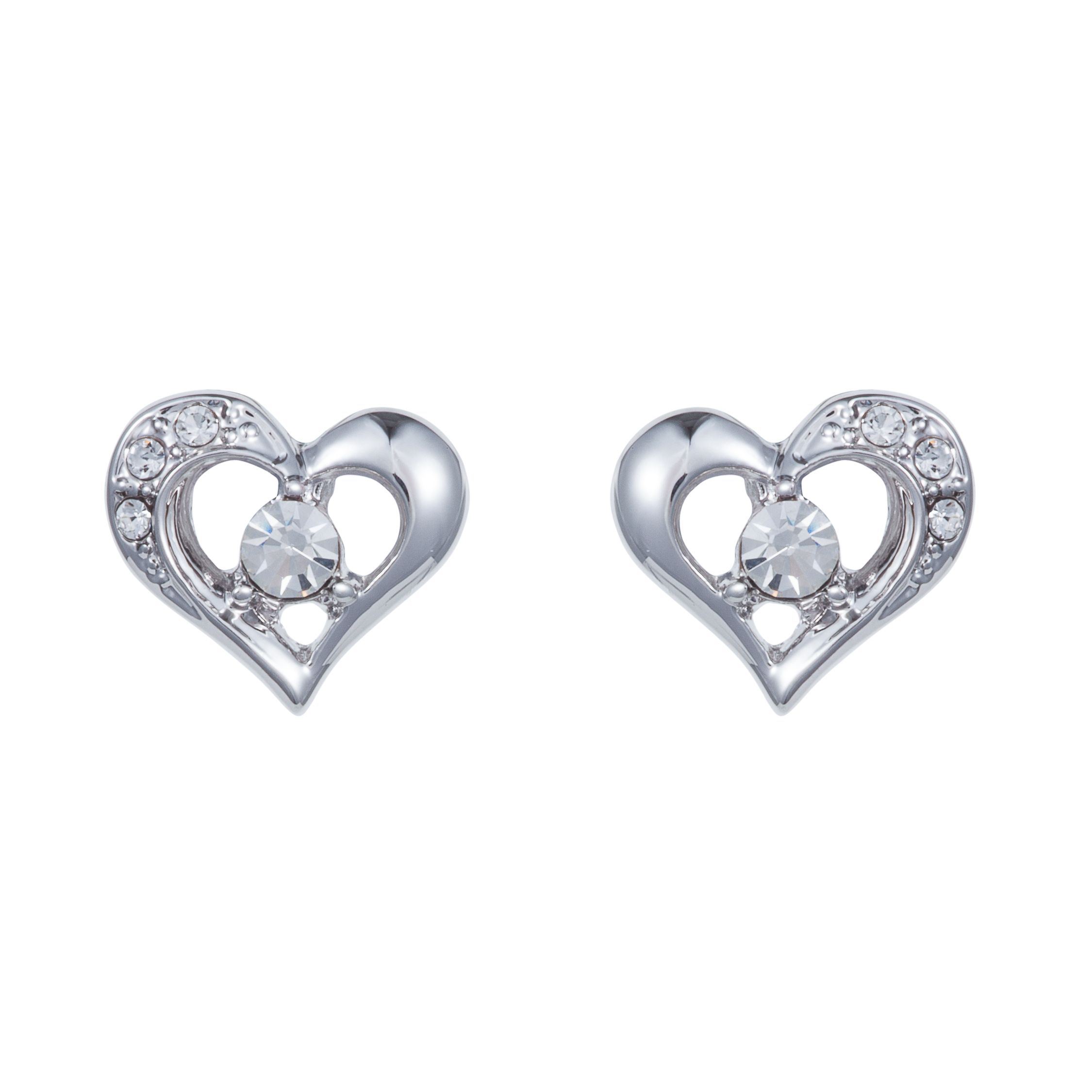 Rhodium plated heart earring