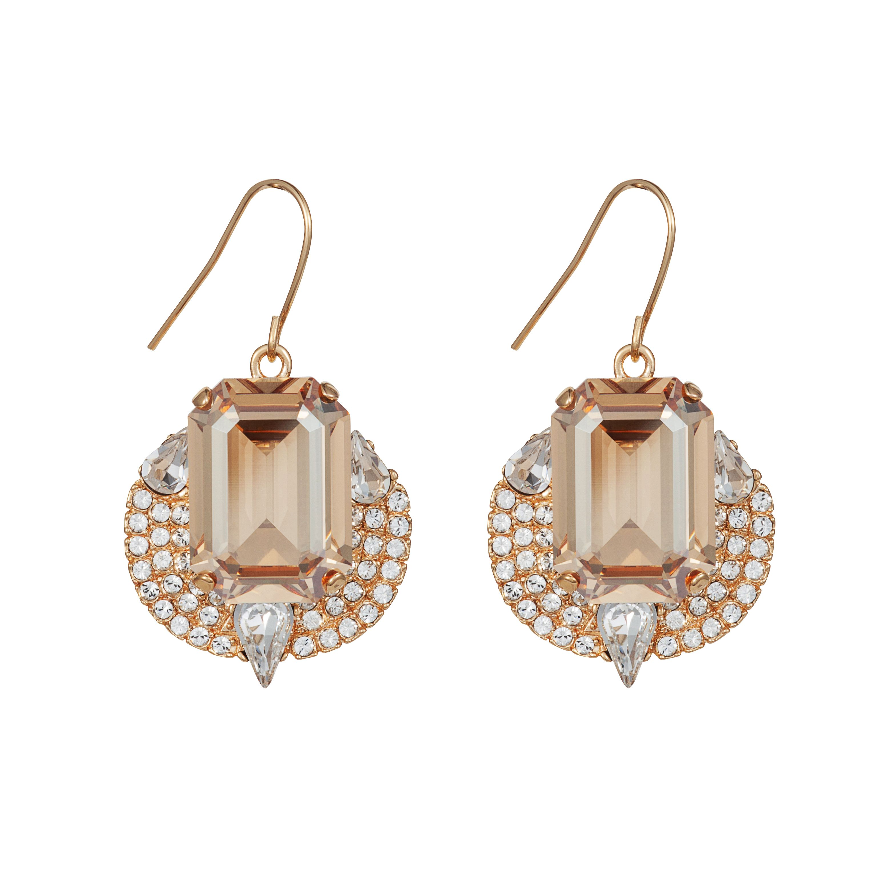 Handmade 18ct gold crystal mosaic earrings
