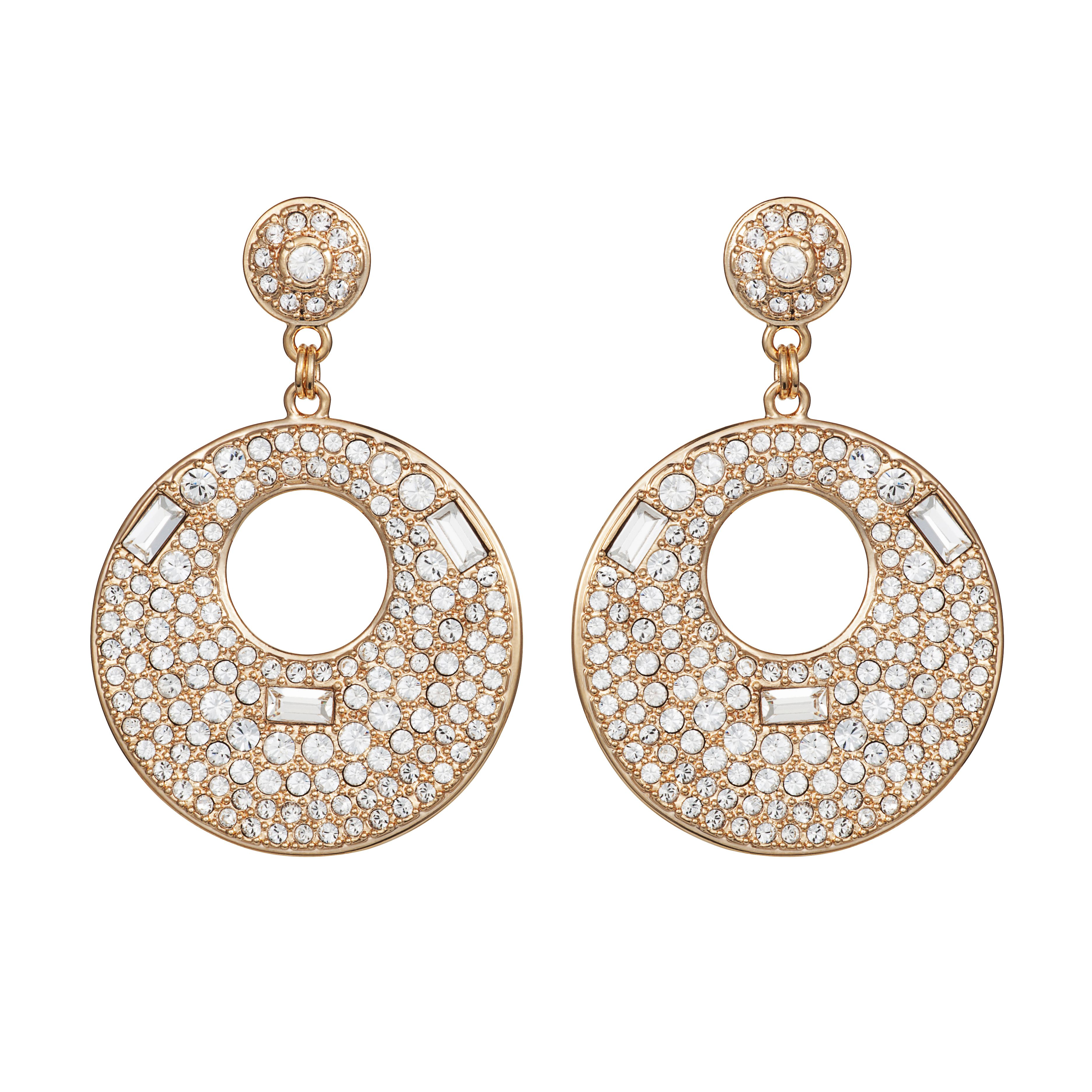 Handmade 18ct gold pave crystal earrings