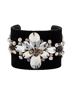 Velvet and crystal cuff bangle