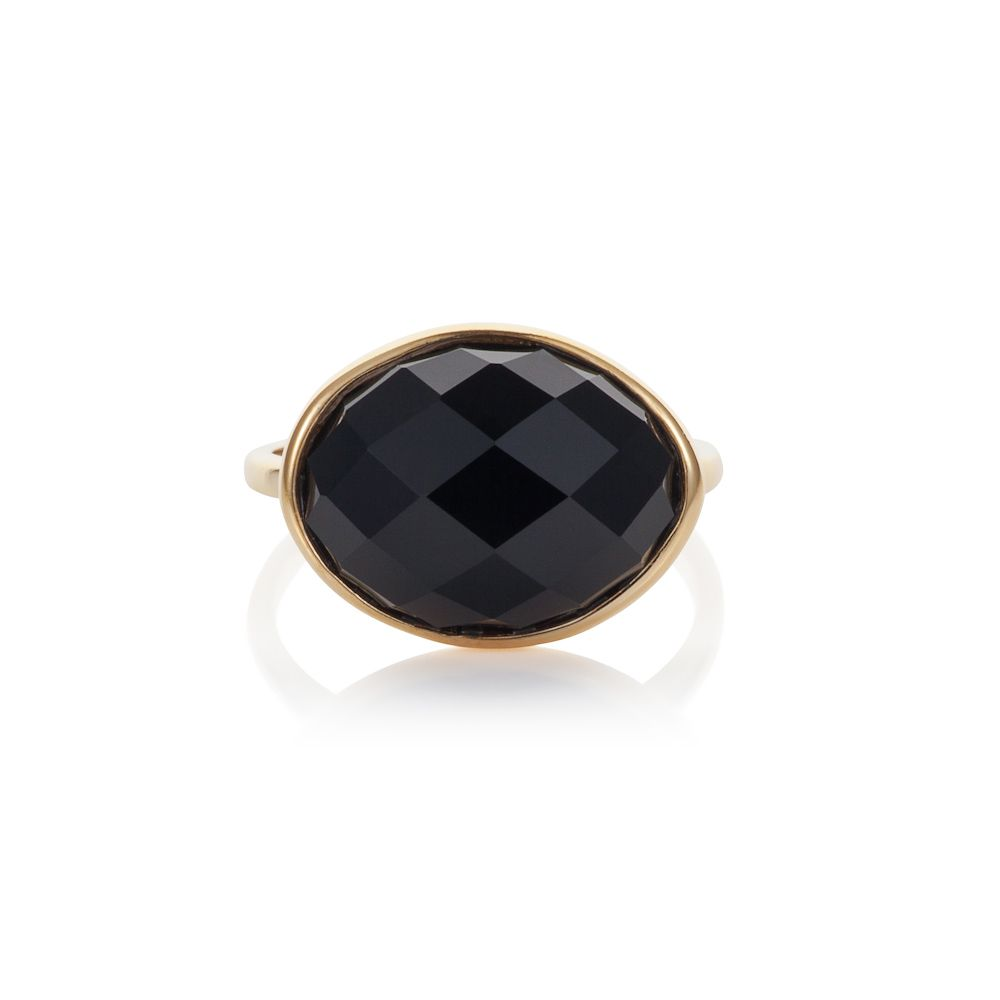 18ct gold plated sterling silver 5.30ct black aga