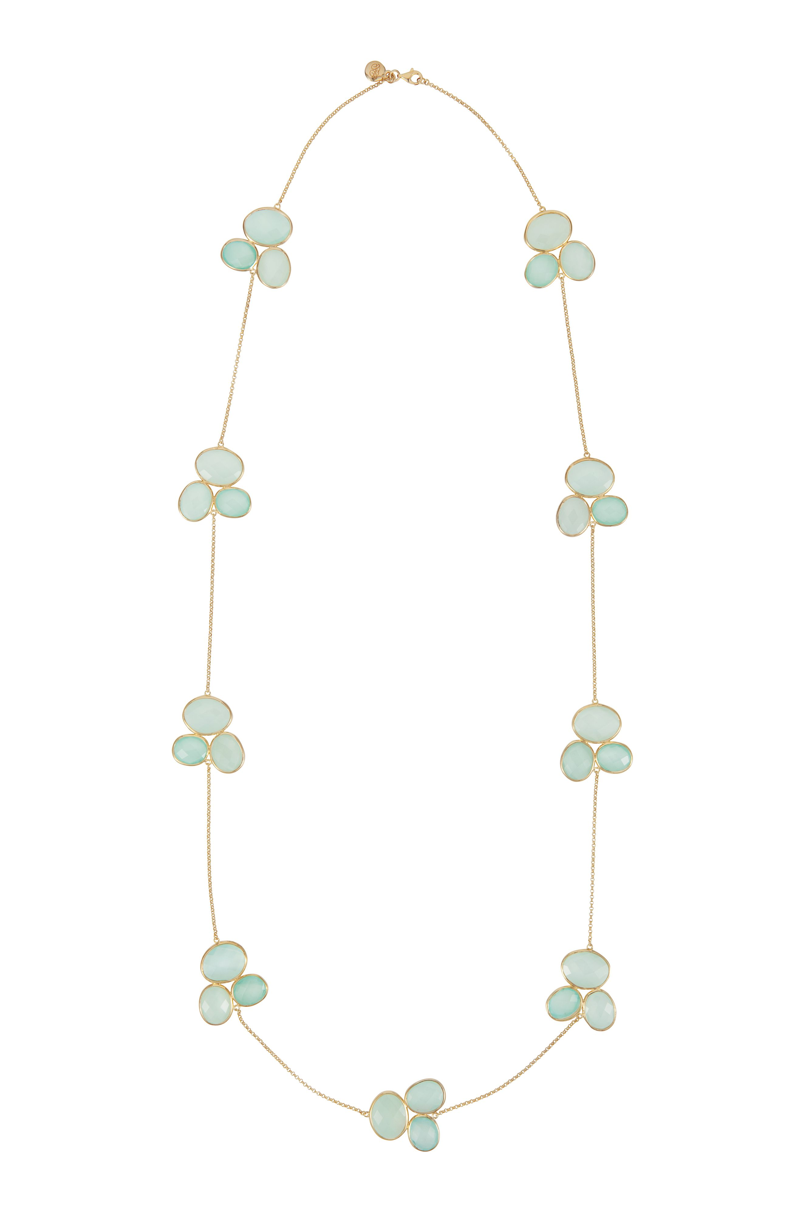 18ct gold plated sterling silver 110ct aqua chalc