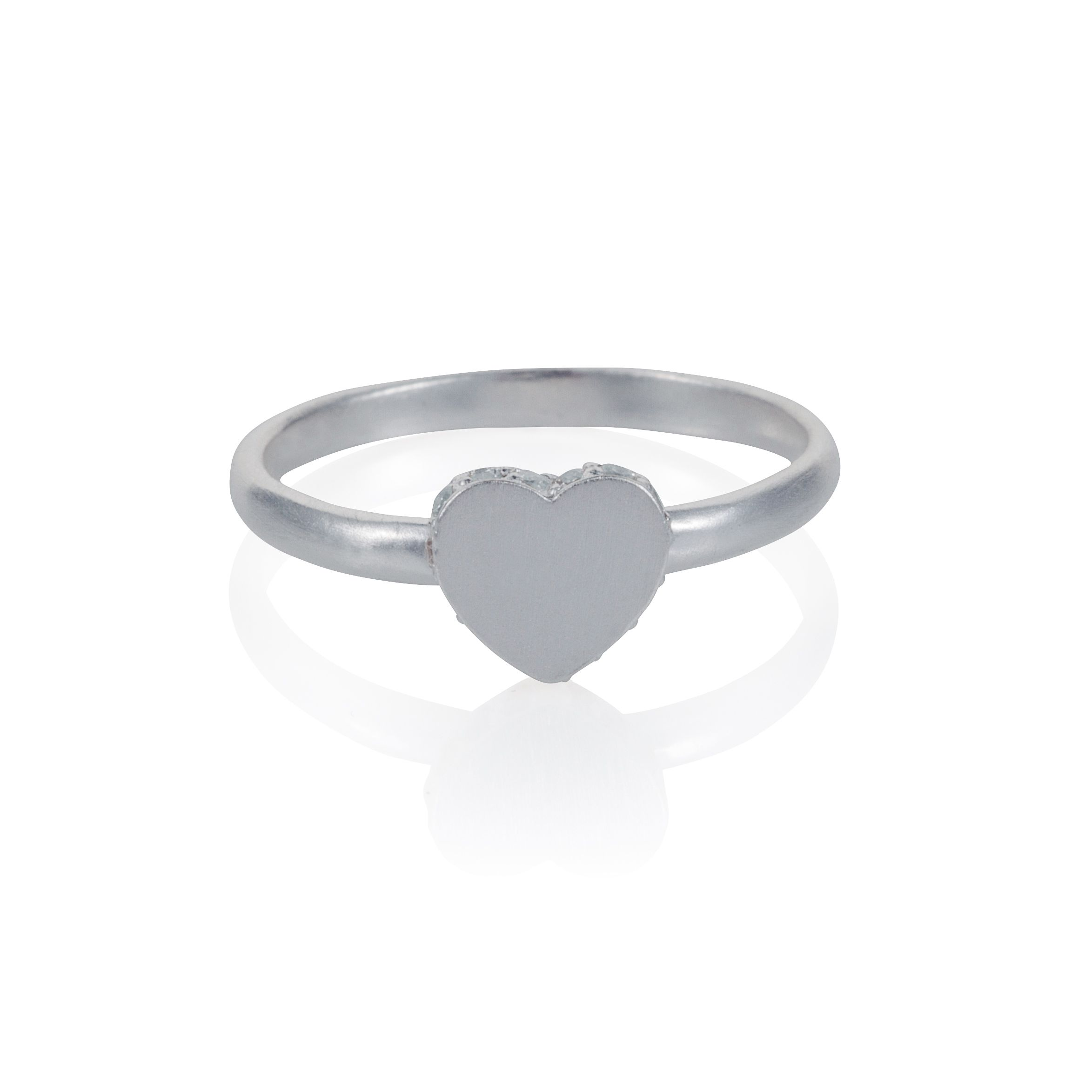 Sterling silver heart accent ring