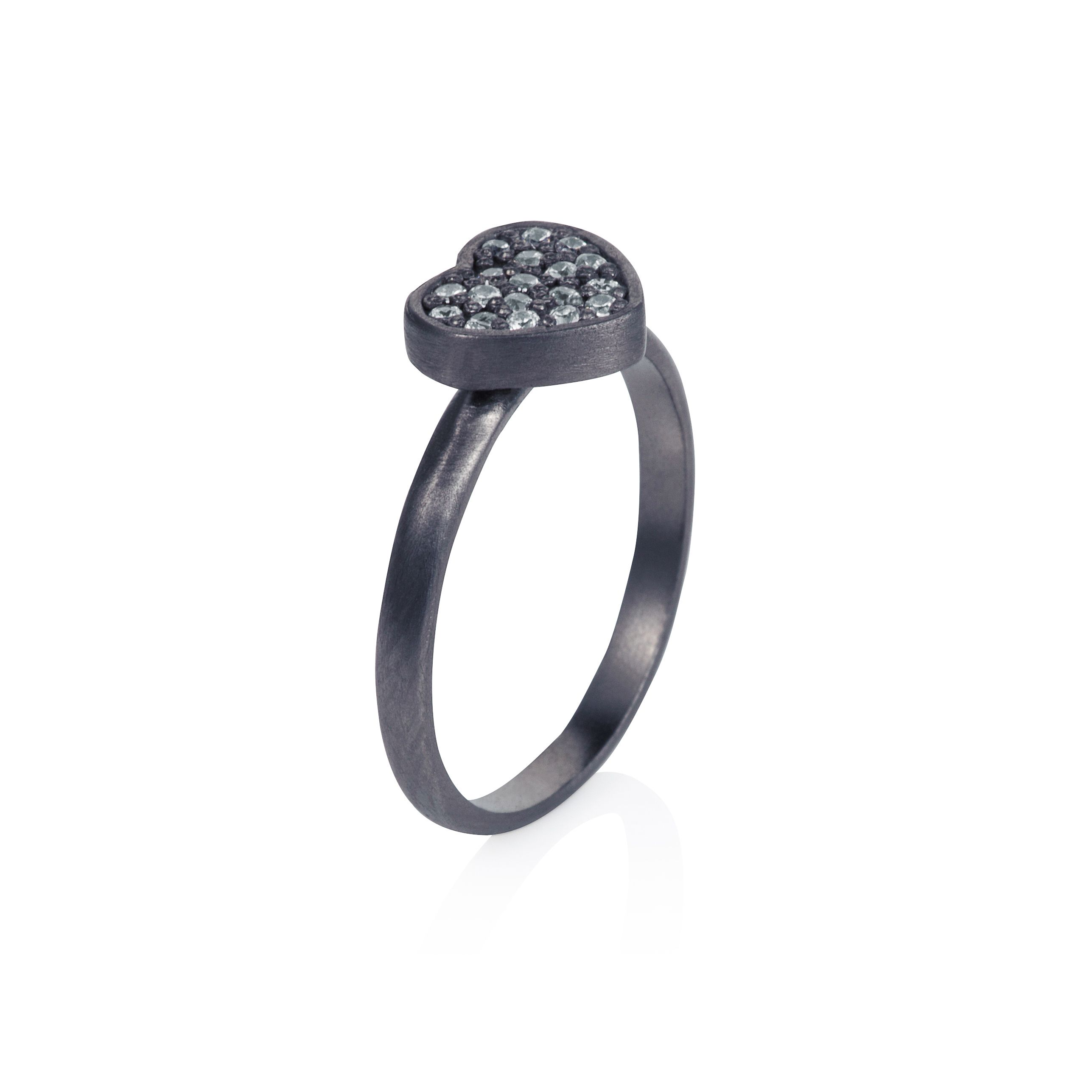 Sterling silver black rhodium plated heart ring