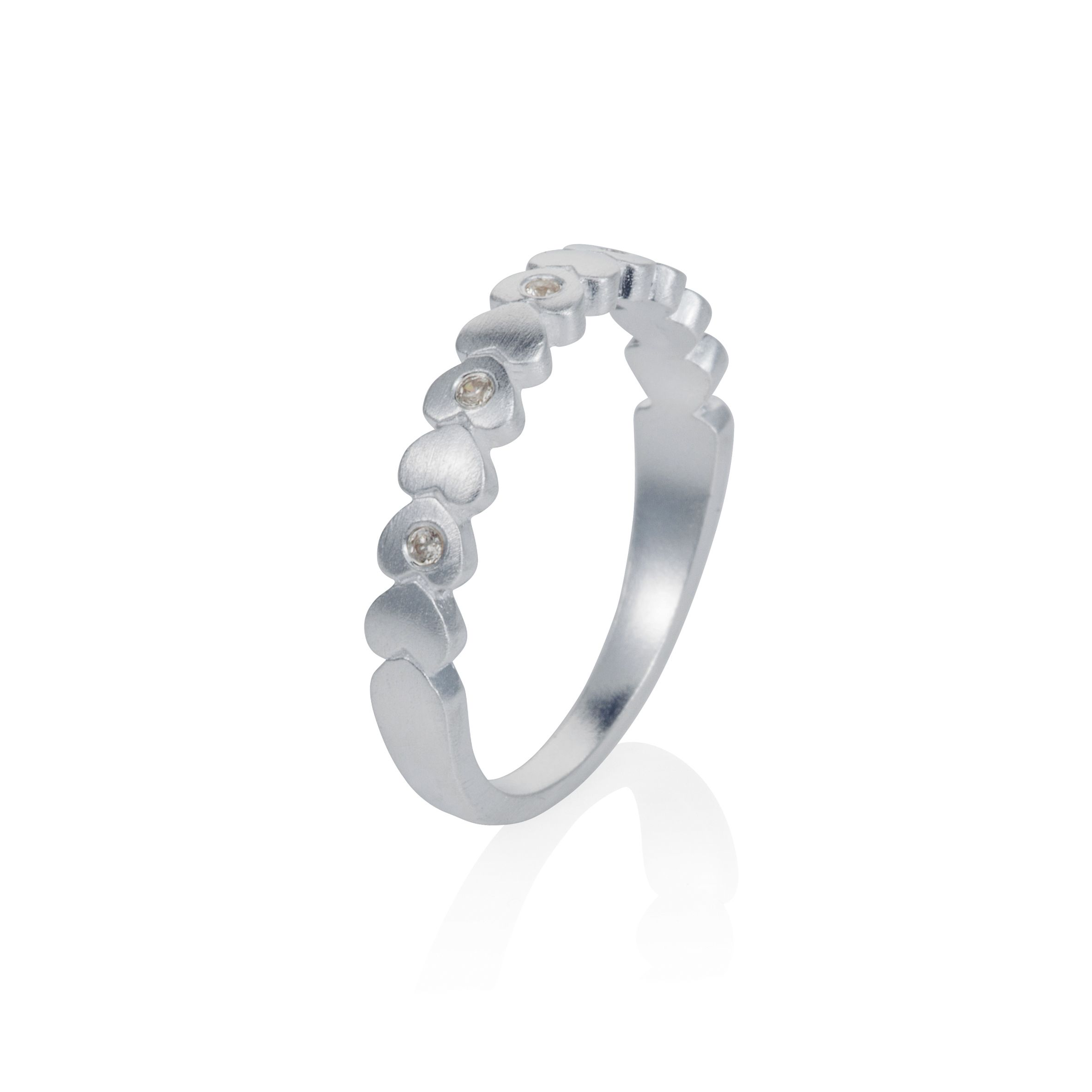Sterling silver hearts stacker ring