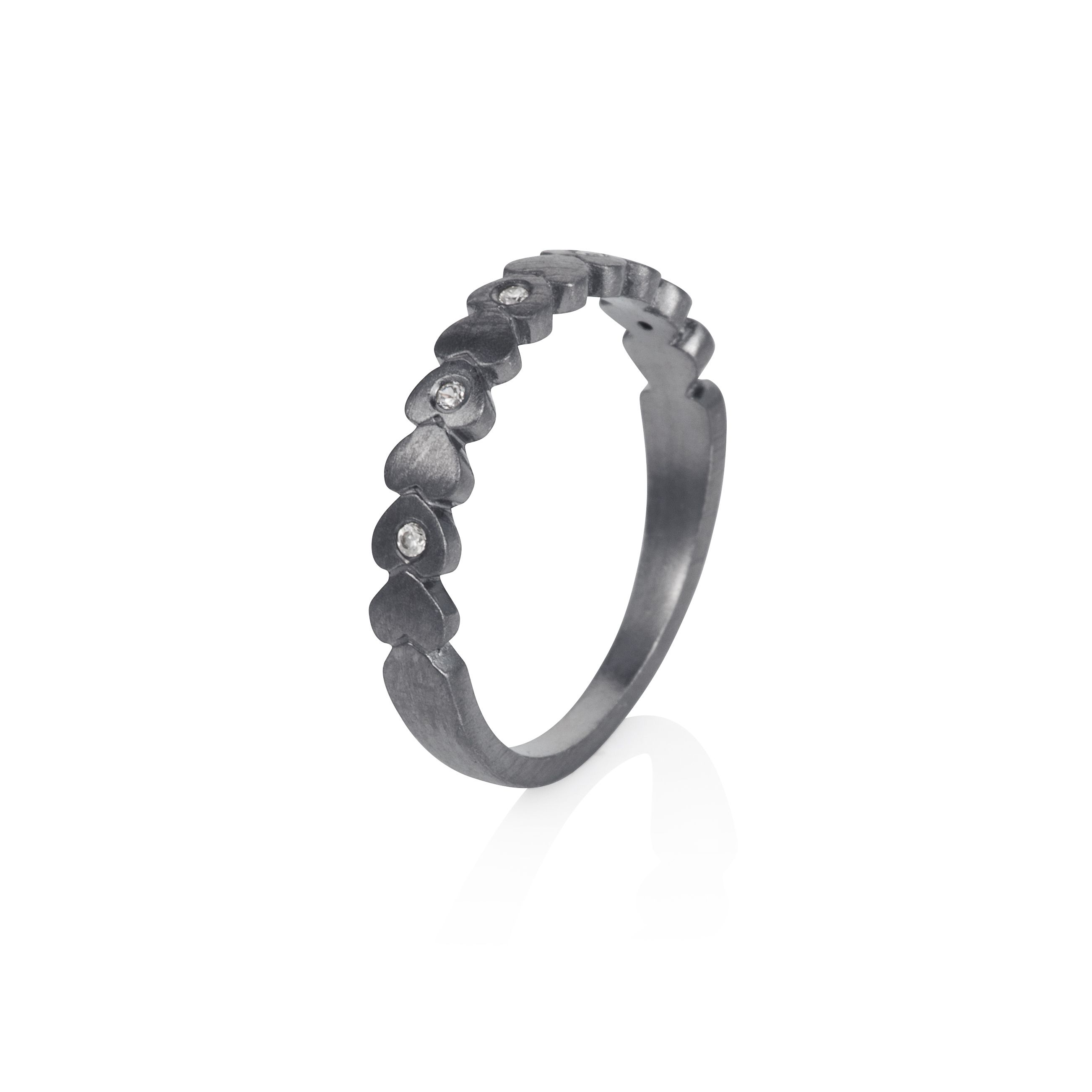 Sterling silver black rhodium plated hearts stack