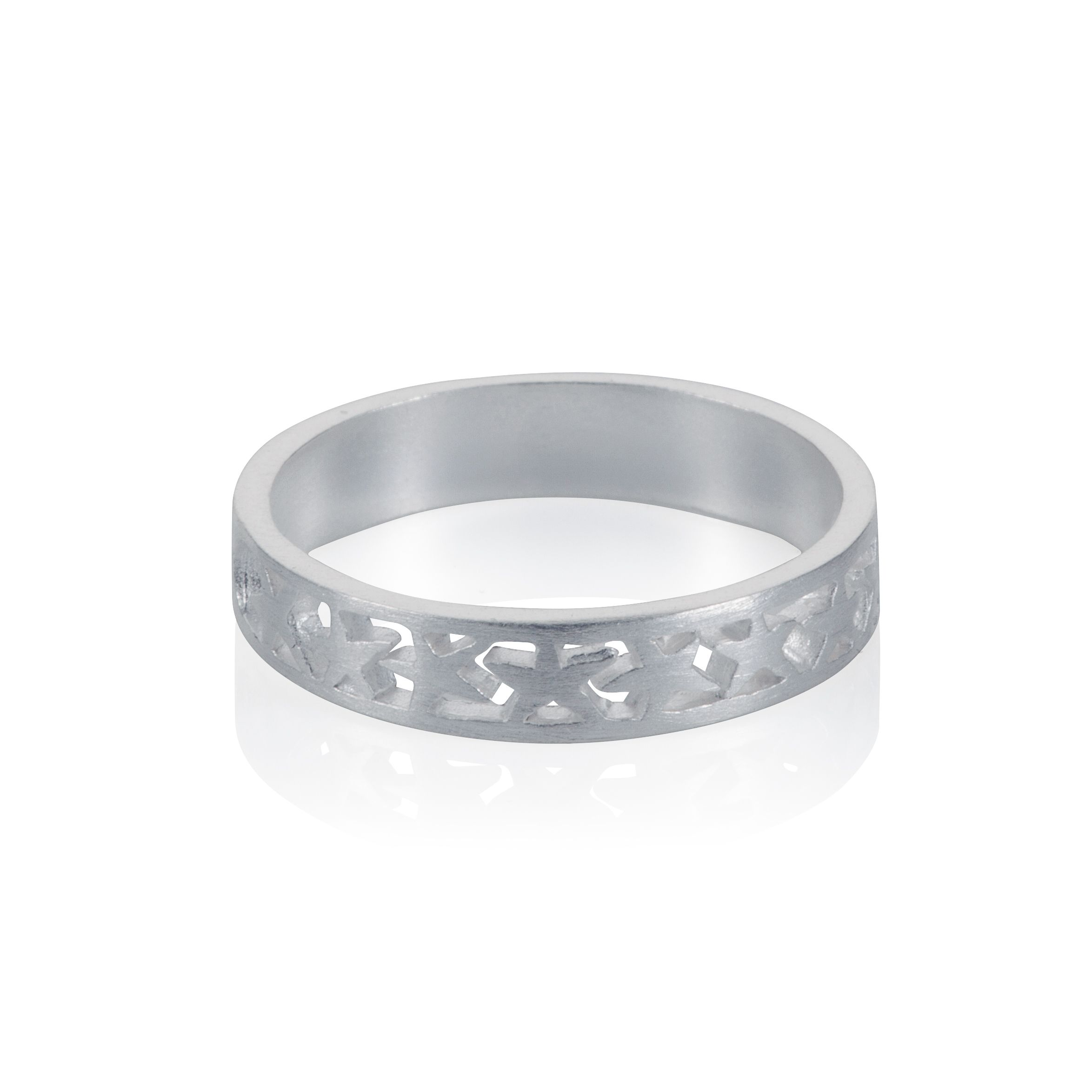 Sterling silver band of stars stacker ring