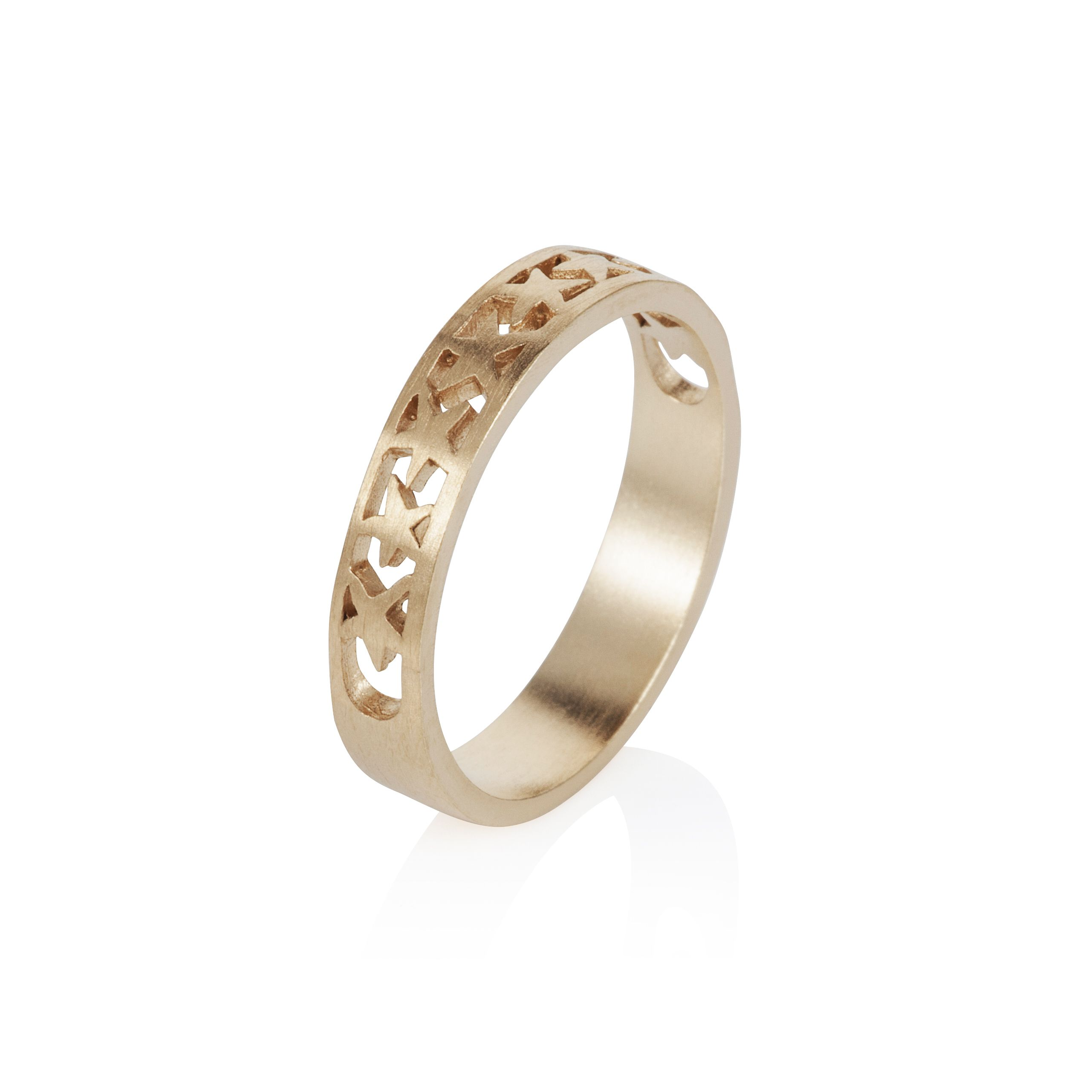 18ct gold plated band of stars stacker  ring