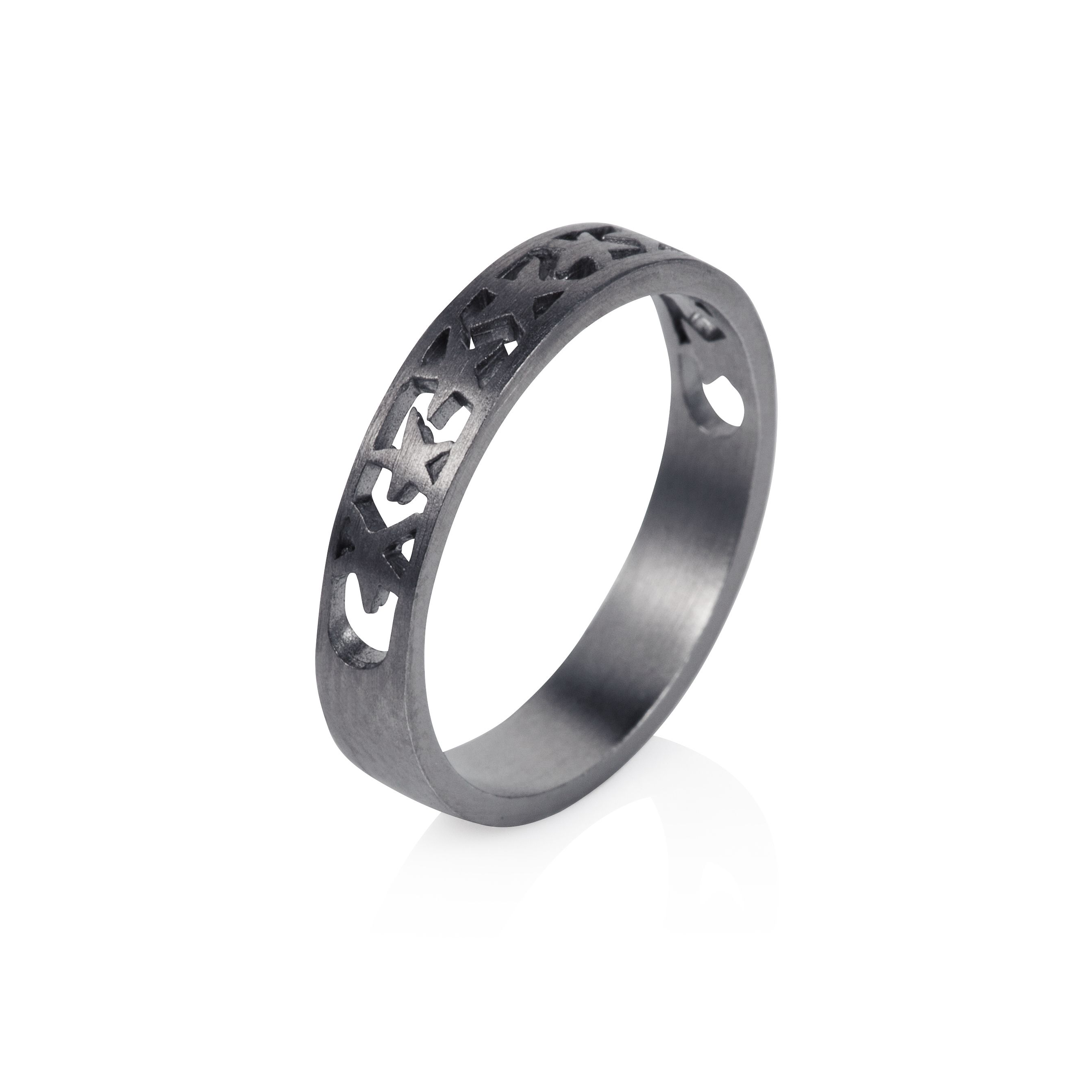 Sterling silver black rhodium plated band of star