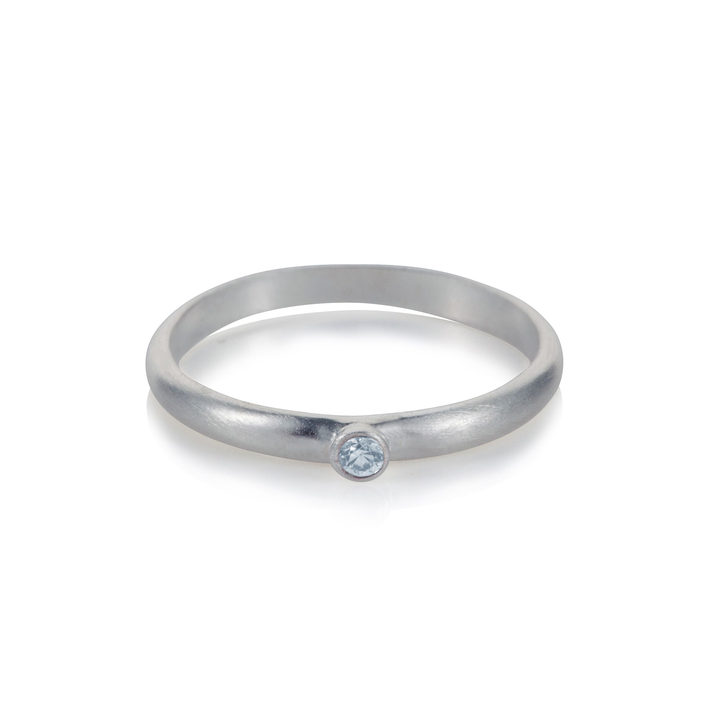 Sterling silver solitaire charm ring