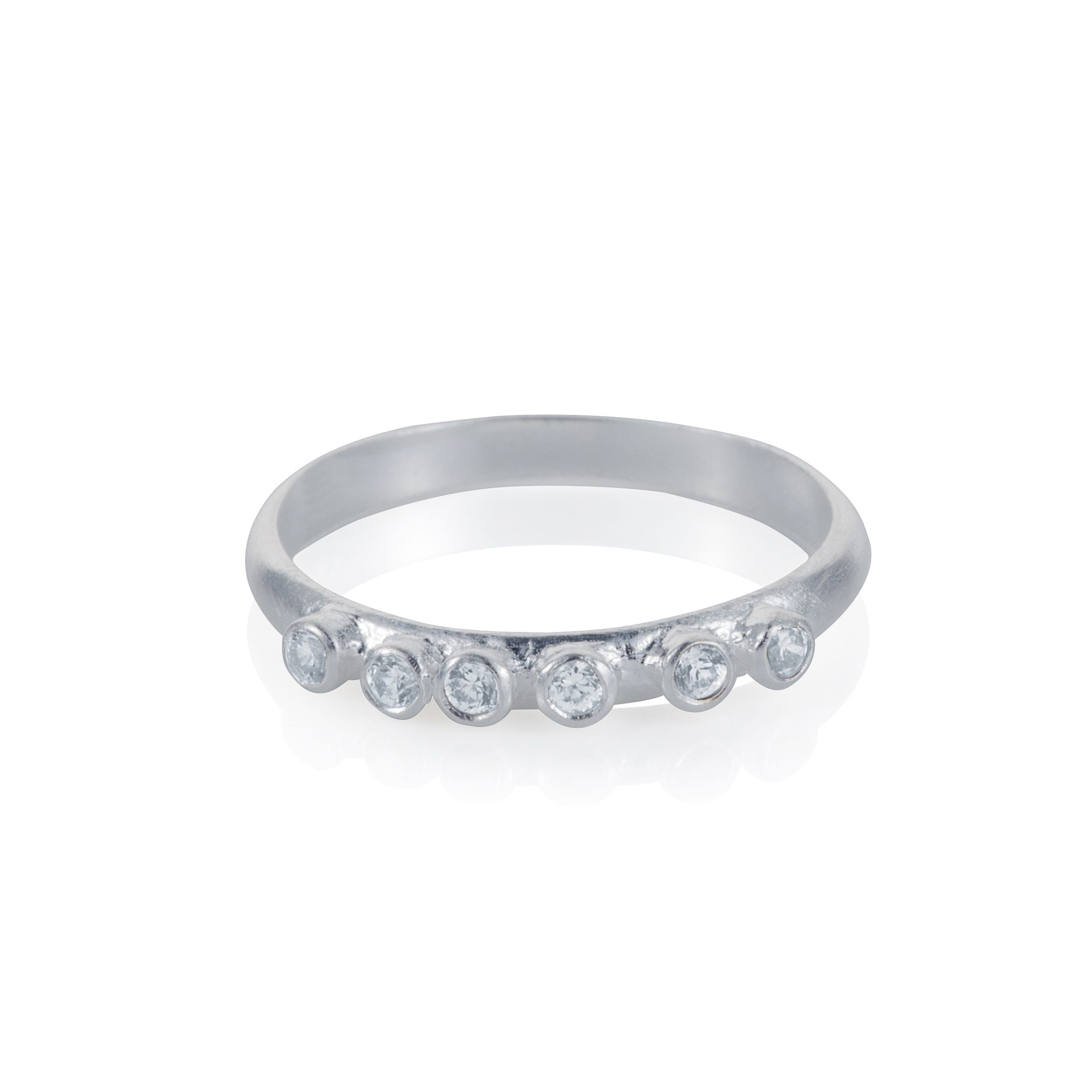 Sterling silver six stone stacker ring