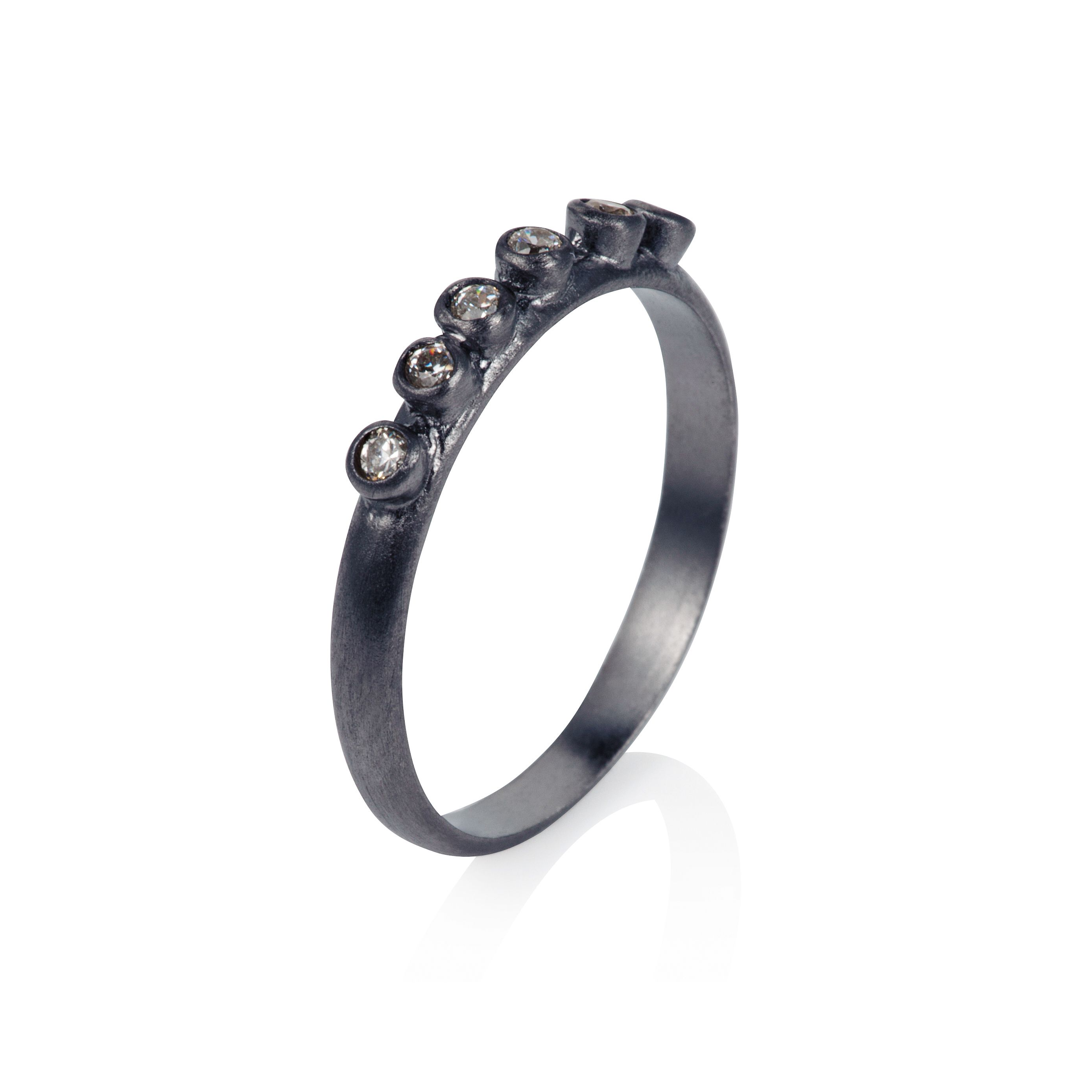 Sterling silver black rhodium plated six stone st