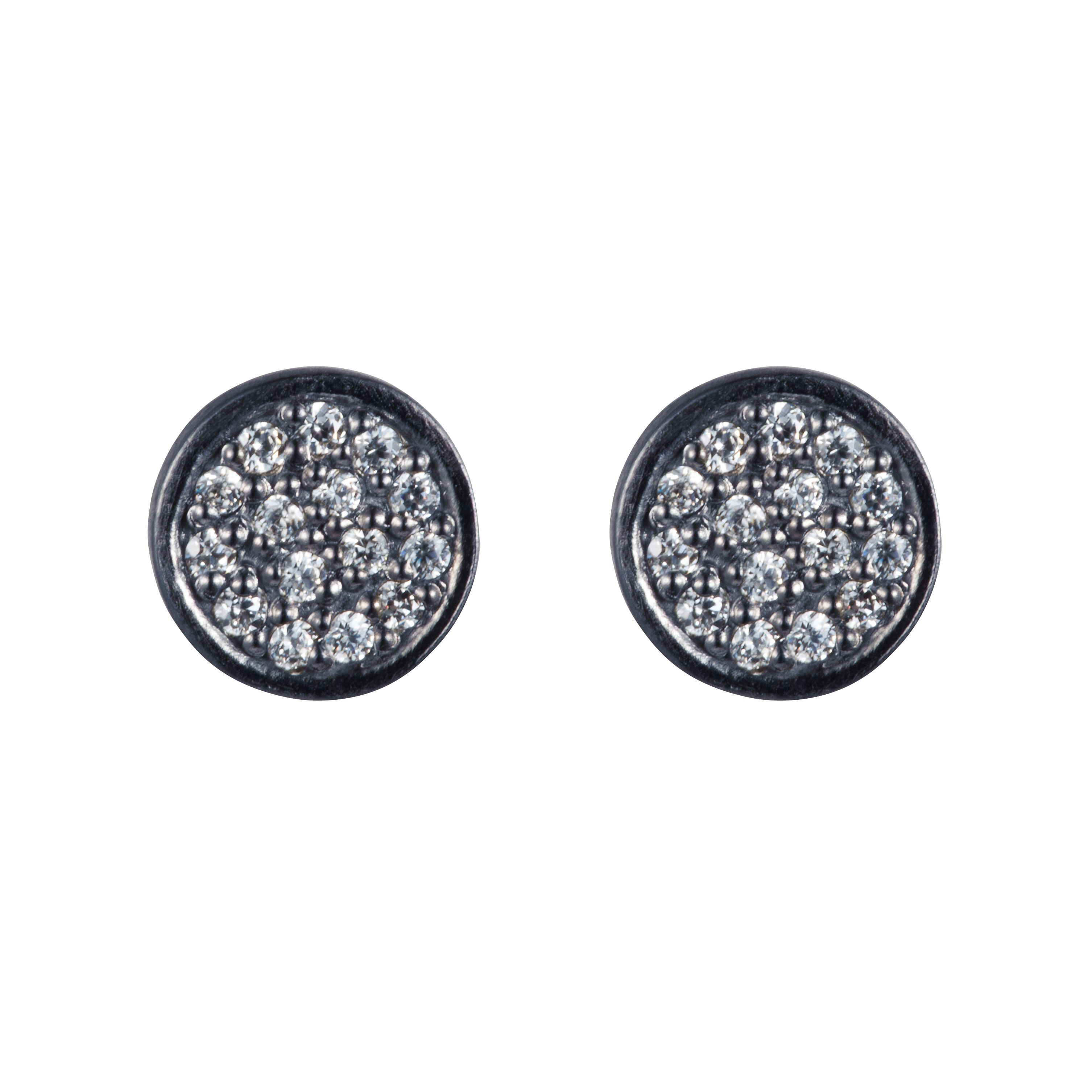 Sterling silver black rhodium plated stud earring