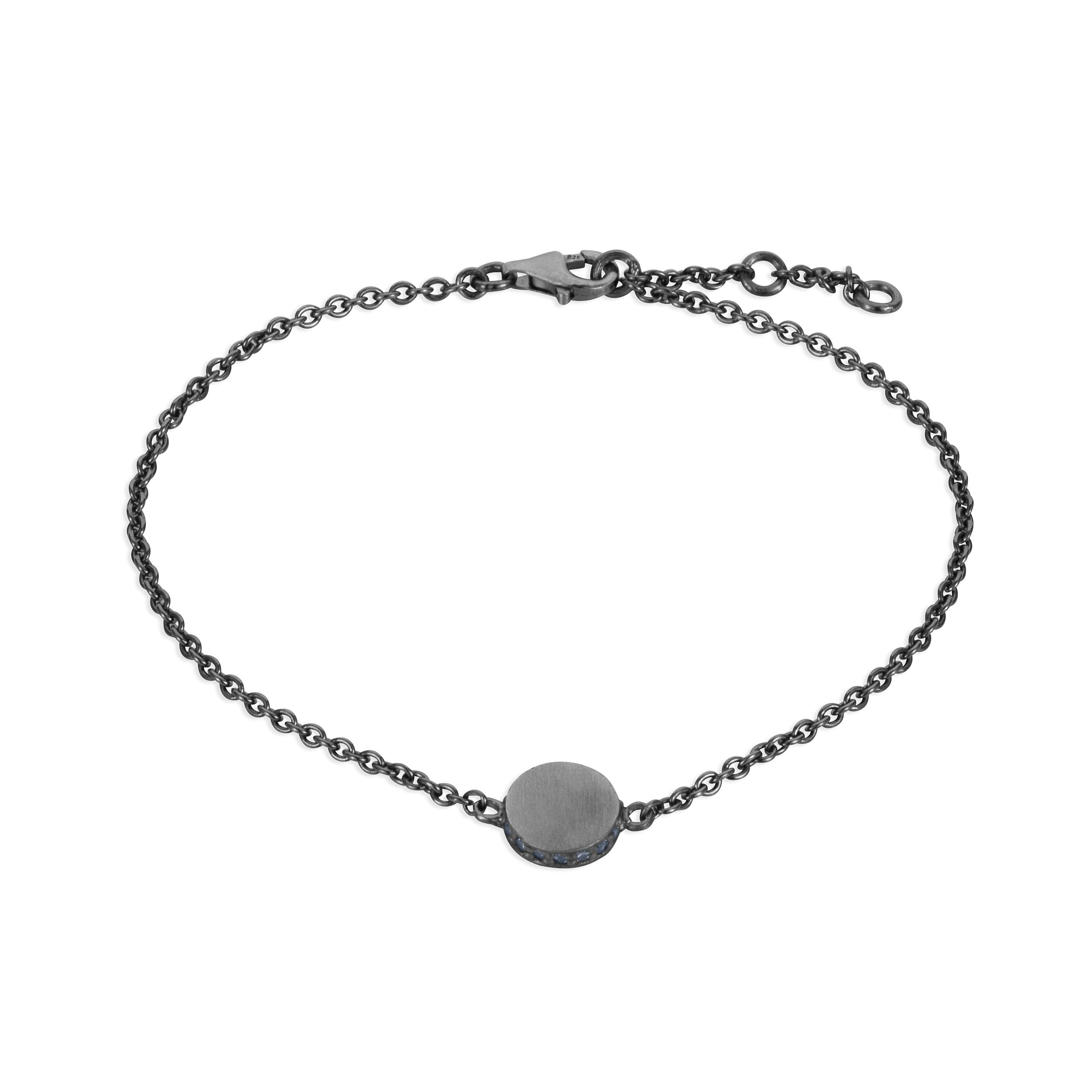 Sterling silver black rhodium plated circle charm