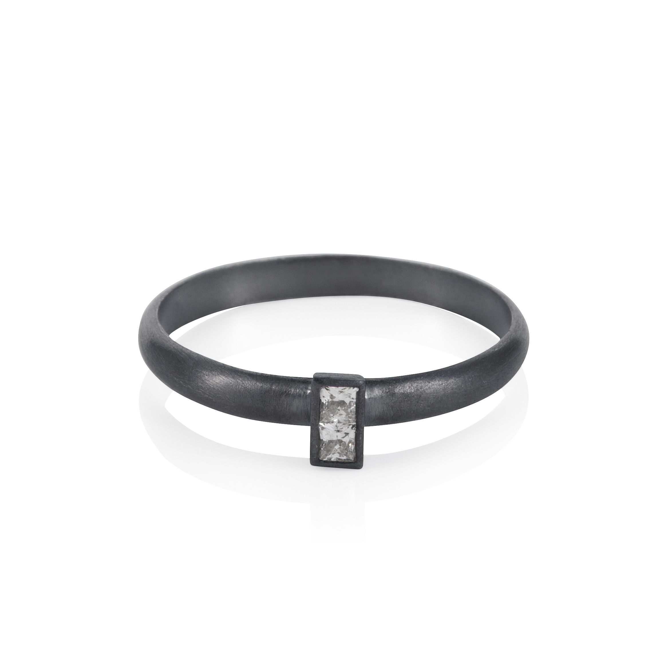 Sterling silver black rhodium plated stacker ring