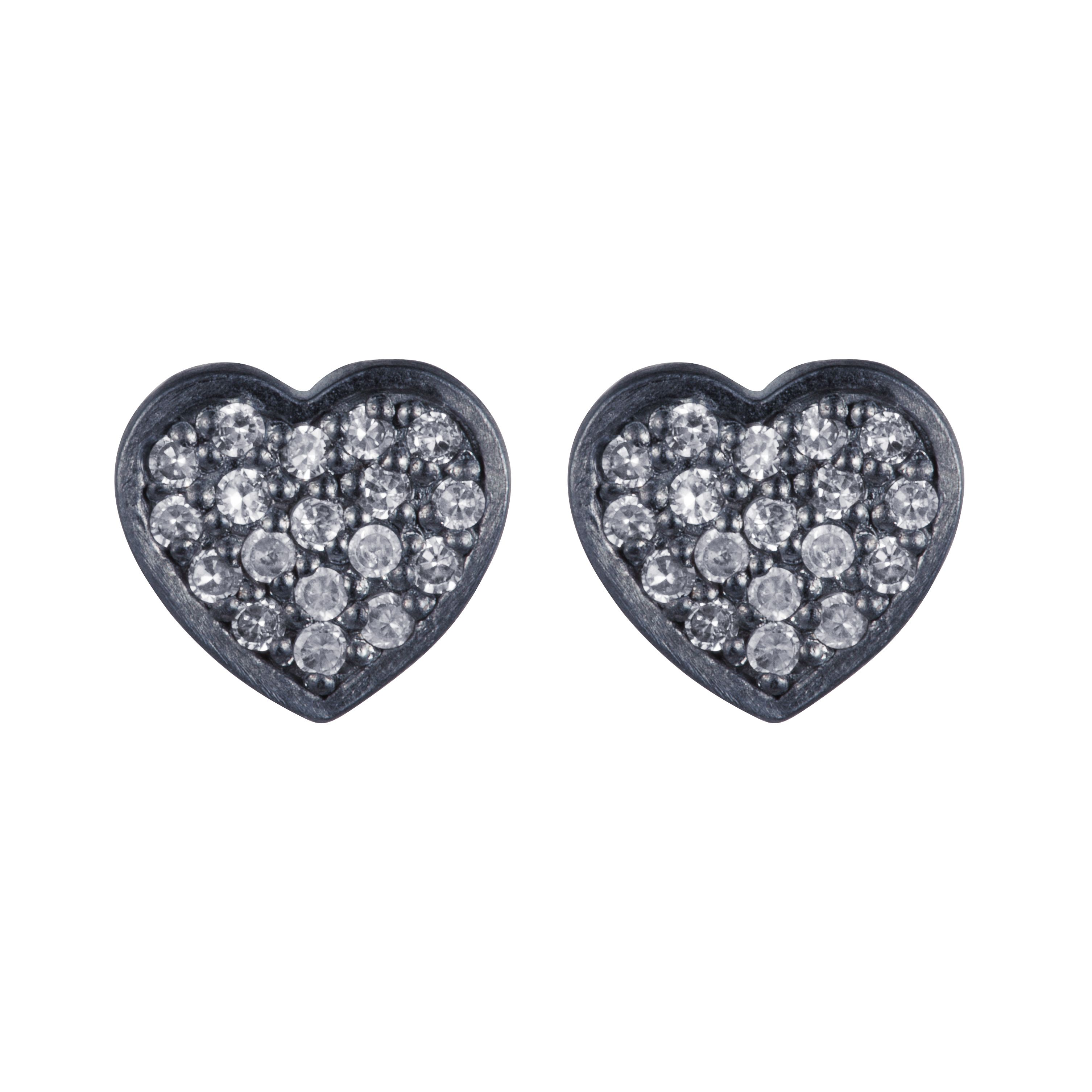 Sterling silver rhodium plated heart earrings