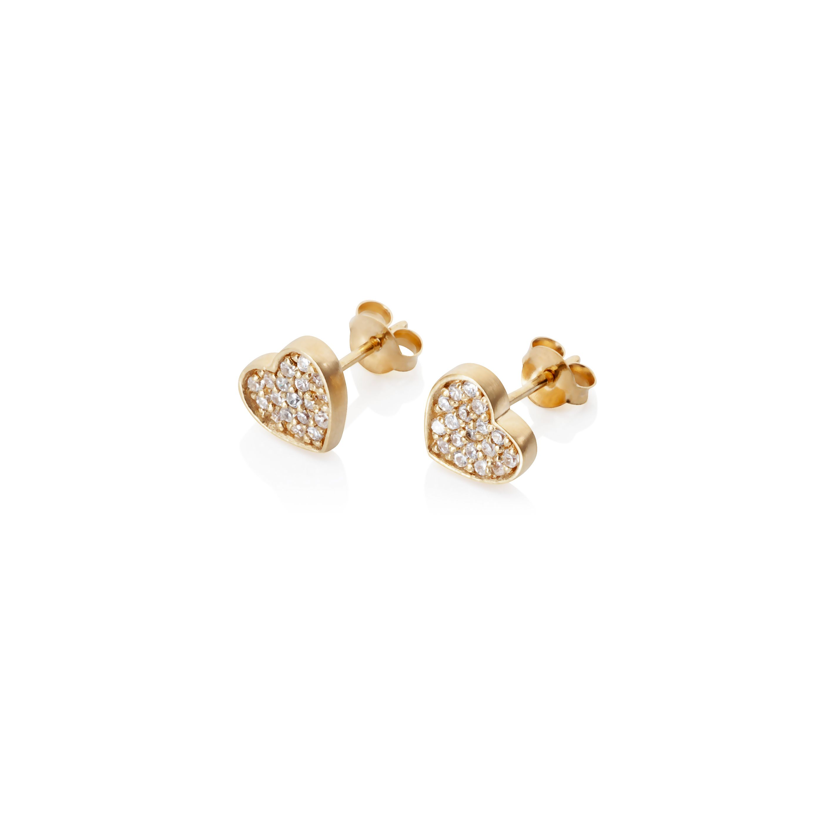 18ct gold plated sterling silver heart earrings