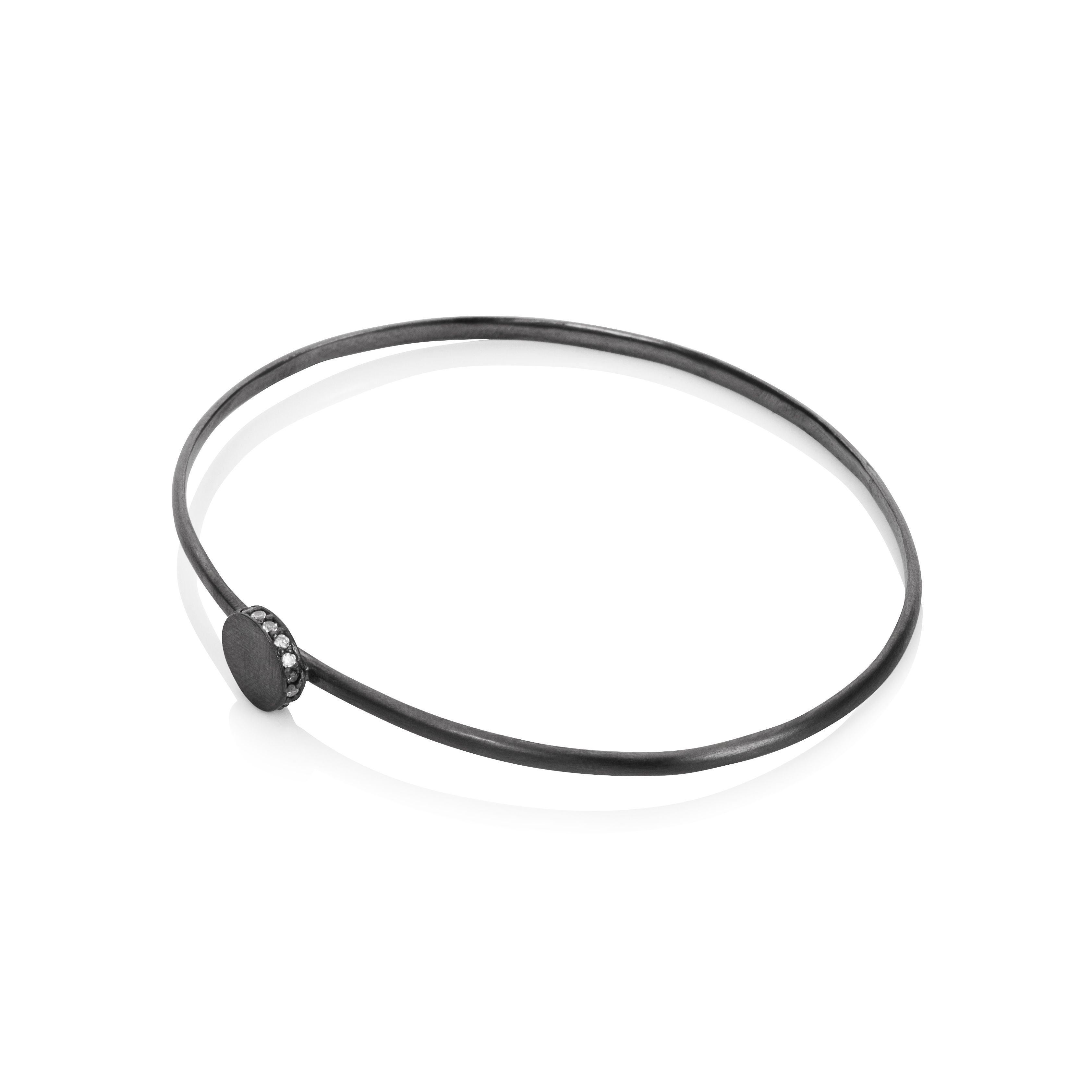Sterling silver black rhodium plated circle bangl