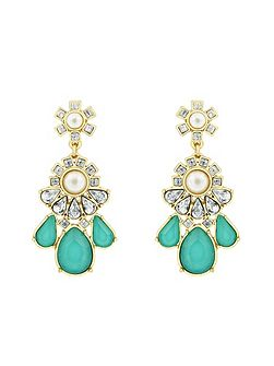 Gold Plated Turquoise Fancy Earrings