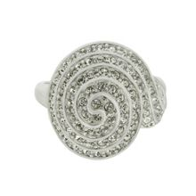 Silver crystal spiral ring