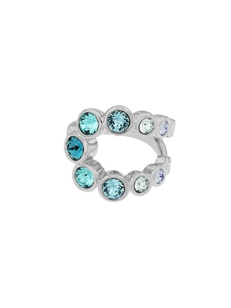 Aurora Rhodium plated crystal bubble ring