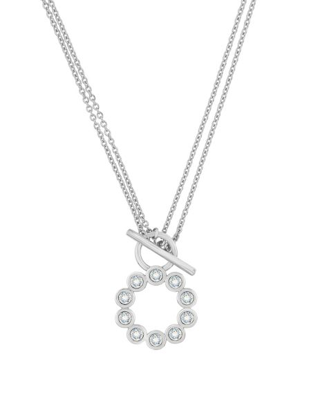 Aurora Rhodium plated crystal necklace