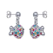 Aurora Flash Rhodium plated crystal fish earrings