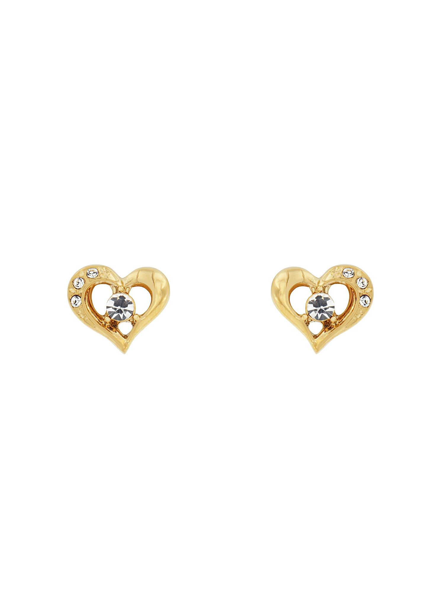 aurora flash gold pated crystal heart studs