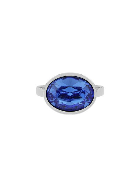 Aurora Flash Rhodium plated oval crystal ring