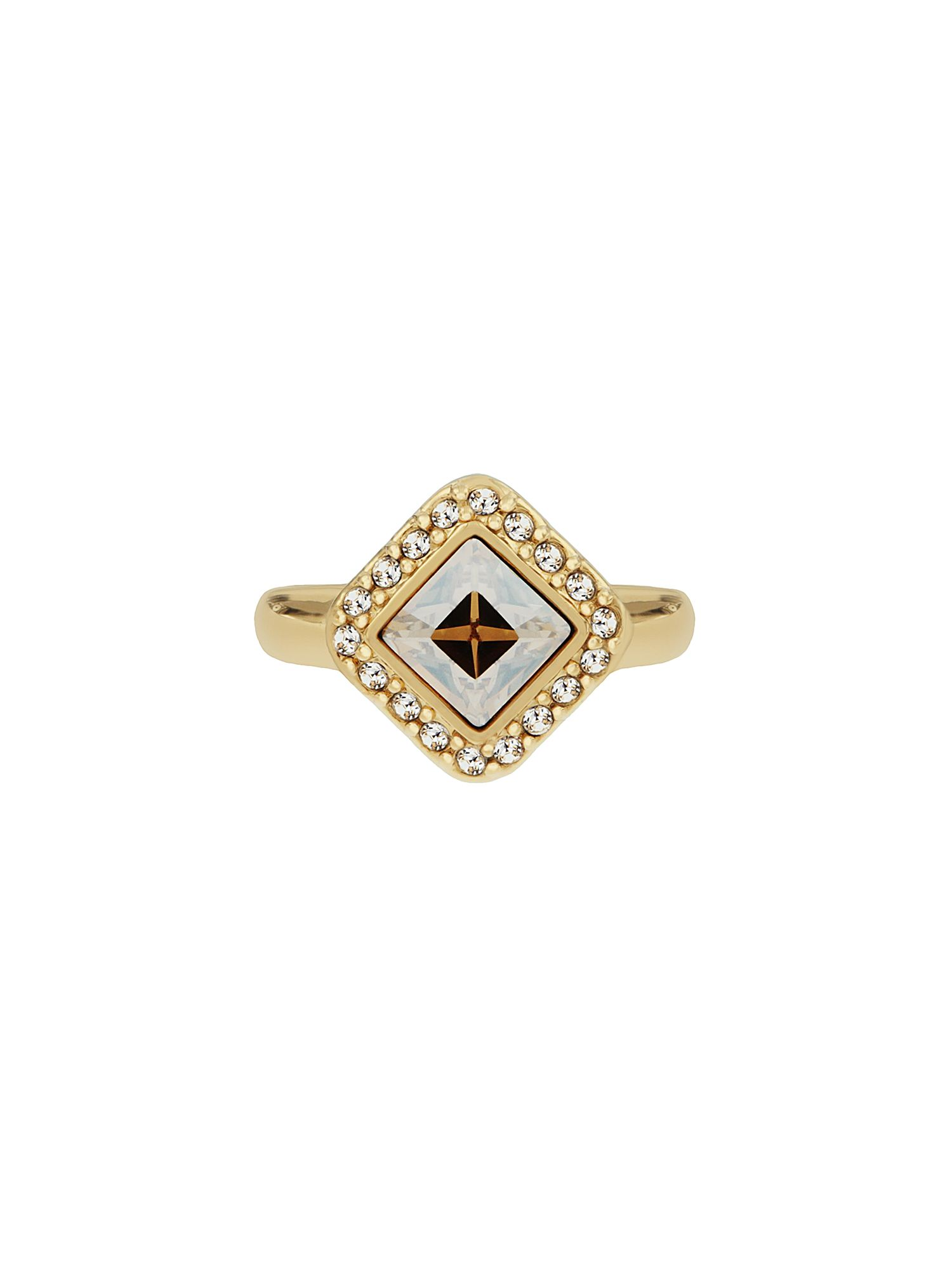 aurora flash gold plated square crystal ring