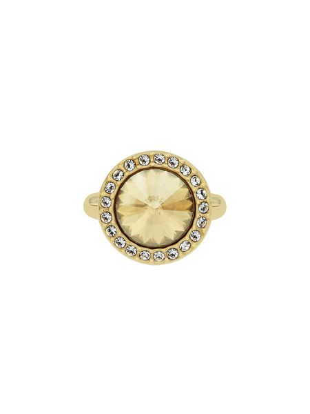 Aurora Flash Gold plated round crystal ring