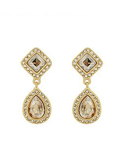 Gold plated round crystal earrings