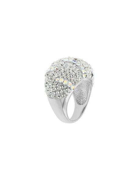 Aurora Flash Rhodium plated pave crystal dome ring