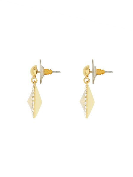 Aurora Flash Gold plated round crystal earrings