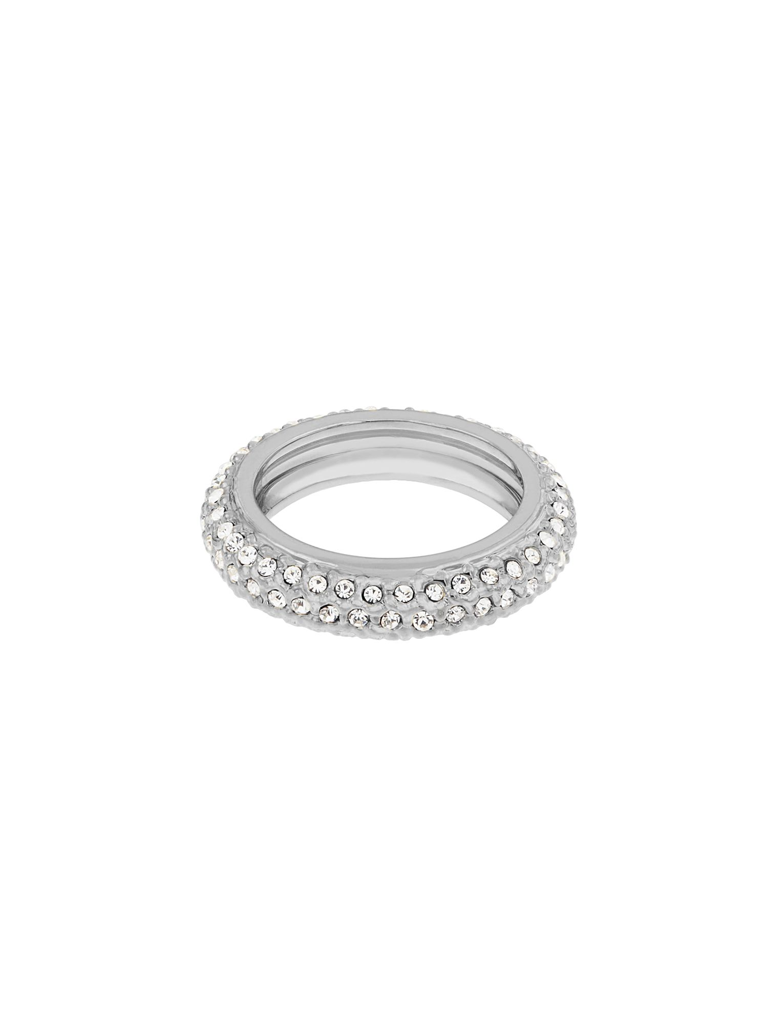 aurora flash rhodium plated eternity crystal ring