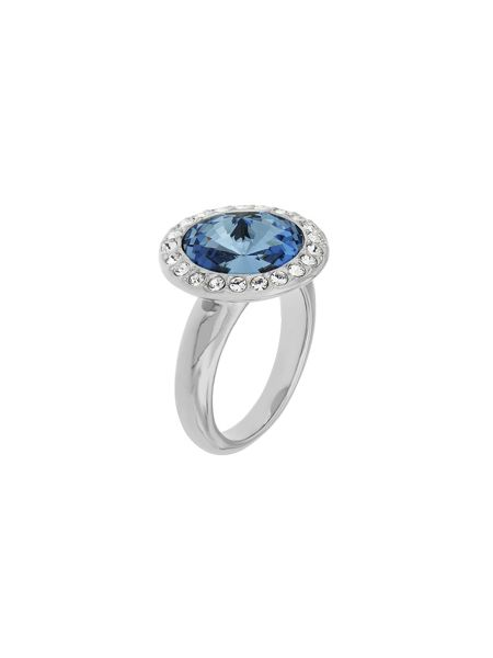 Aurora Flash Rhodium plated round crystal ring