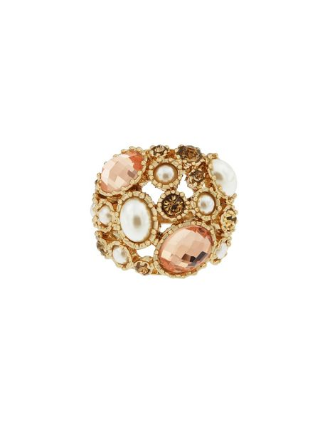 Aurora Flash Gold plated faux pearl cocktail ring