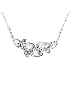 Rhodium plated multi-crystal necklace