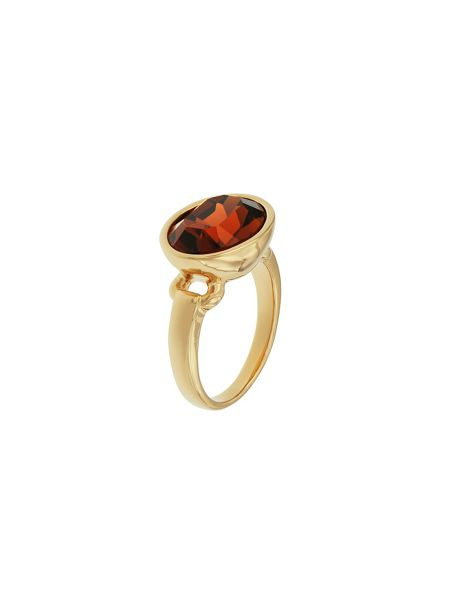 Aurora Flash Gold plated oval crystal ring