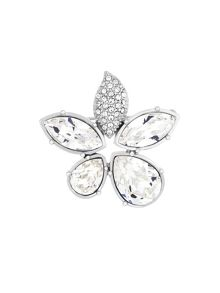 Aurora Flash Rhodium Plated Crystal Flower Brooch