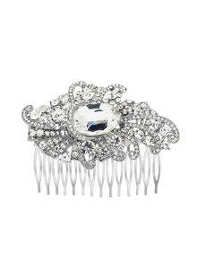 Aurora Flash Silver Plated Crystal Fancy Hair Comb