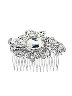 Silver Plated Crystal Fancy Hair Comb