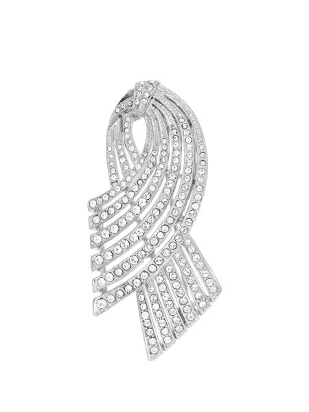 Aurora Flash Rhodium Plated Crystal Set Brooch