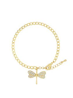 Gold Plated Bracelet With Crystal Charm