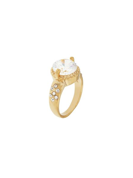 Aurora Flash Gold Plated & Crystal Solitaire Ring