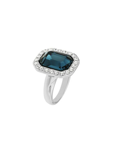 Aurora Flash Rhodium Plated Emerald Cut Crystal Ring
