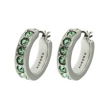 Aurora Rhodium plated crystal hoop earrings